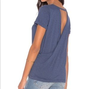 "Chaser ""Cross Back Rolled Sleeve Tee - oasis blue"""